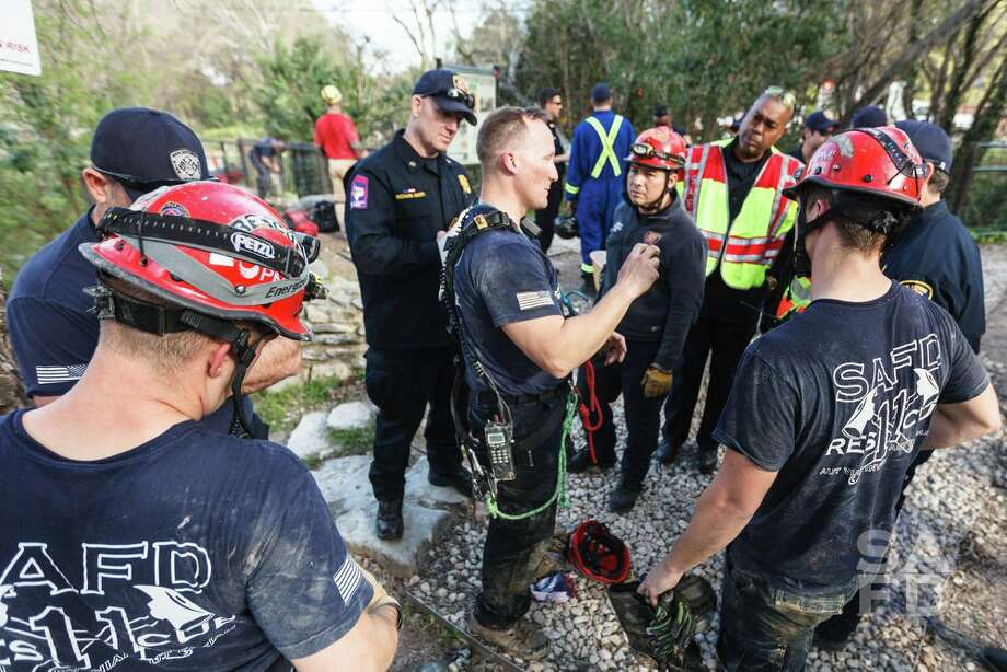 Photos provided by the San Antonio Fire Department show efforts by firefighters to rescue a teenage girl from Robber Baron Cave Thursday, March 8, 2018. Photo: Courtesy San Antonio Fire Department
