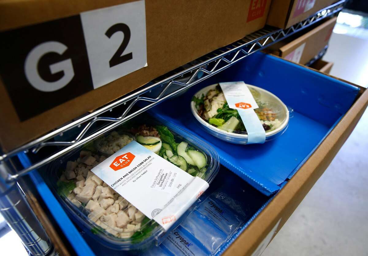 Meals ordered online by employees at Coupa Software and delivered by EAT Club are organized in numbered trays in San Mateo, Calif. on Thursday, March 8, 2018.