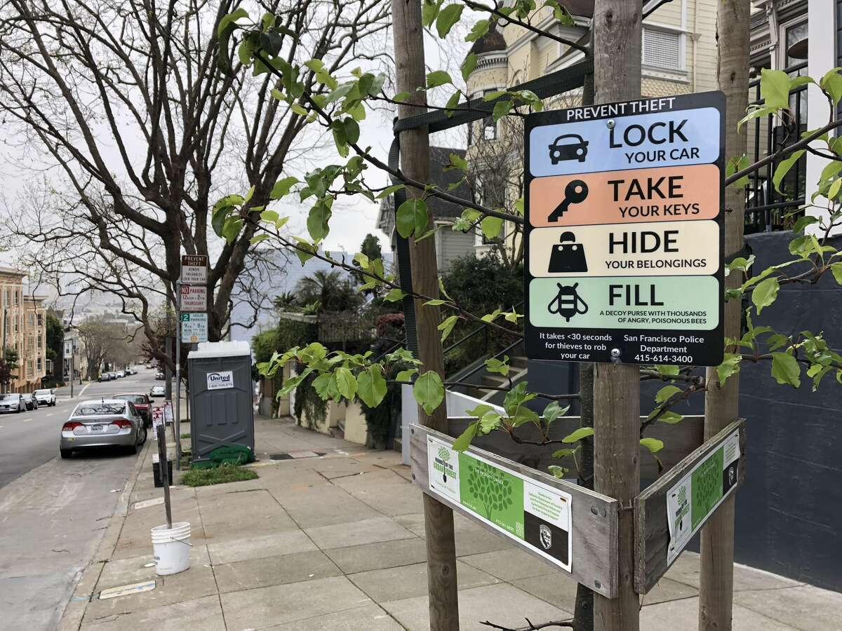 """Humorous signs near Alamo Square Park in San Francisco warn drivers to lock their cars, remove their valuables and """"fill a decoy purse with thousands of angry, poisonous bees."""""""