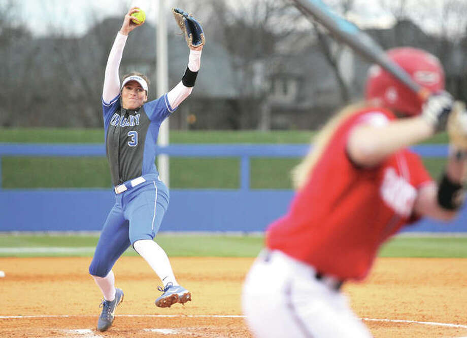 Kentucky pitcher Grace Baalman (left) delivers a pitch to the plate during a 4-1 win over Dayton on March 1 in Lexington, Ky. Baalman worked 1 1/3 innings of scoreless relief in the victory to pick up her first save for the 14-3 Wildcats. The freshman from Hardin leads the Wildcats in wins, ERA and innings pitched entering this weekend's SEC series at Florida. Photo: Quinn Foster / UK Athletics