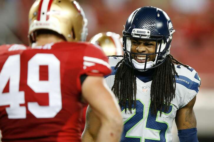 SANTA CLARA, CA - OCTOBER 22:  Richard Sherman #25 of the Seattle Seahawks reacts to a play against the San Francisco 49ers during their NFL game at Levi's Stadium on October 22, 2015 in Santa Clara, California.  (Photo by Ezra Shaw/Getty Images)