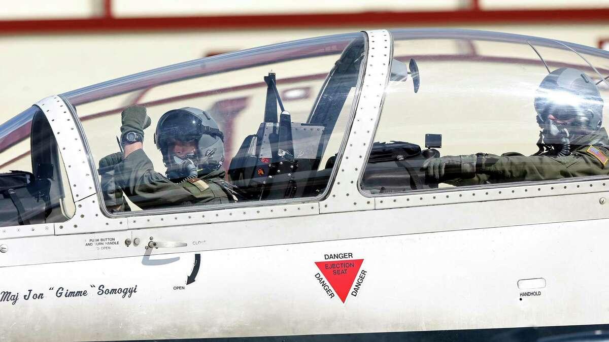 A plane moves toward the runway as crews prepare to fly T-6A aircraft at Joint Base San Antonio-Randolph in 2018.