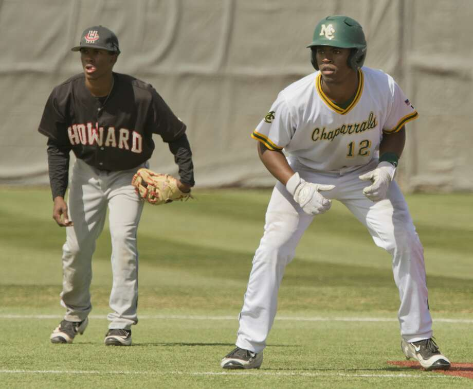Midland College's Jordan Billups gets a lead off second as Howard College's Jaxon Williams watches the plate 03/09/18 in the first game of a double header at Christensen Stadium. Tim Fischer/Reporter-Telegram Photo: Tim Fischer/Midland Reporter-Telegram