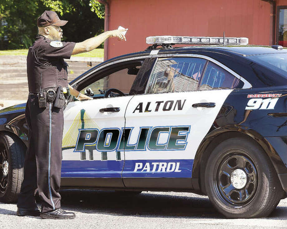 Alton Police officer Tony Bumpers, shown, was, until recently, one of only two black officers on the Alton force. The department recently hired two more, bringing that number to four, out of 59 officers. Photo: John Badman | The Telegraph