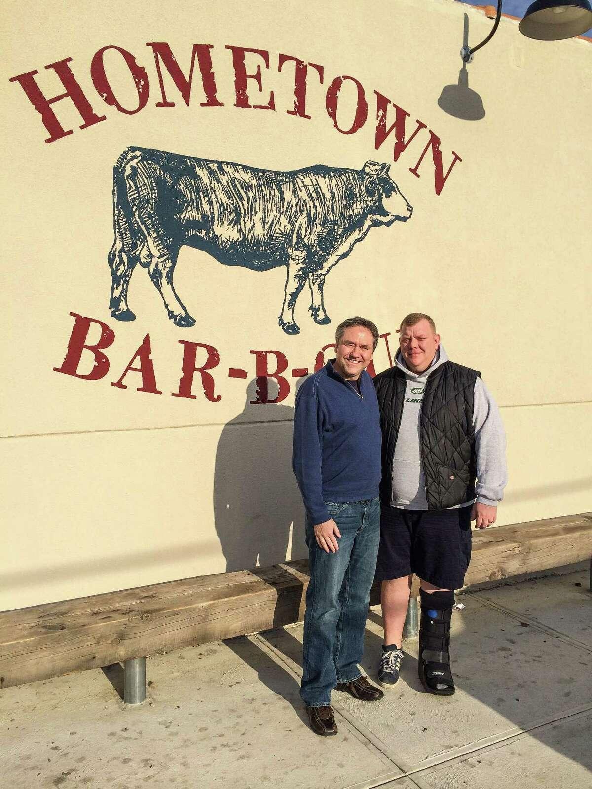 J.C. Reid and Billy Durneyat Hometown Bar-B-Que in Brooklyn, N.Y.