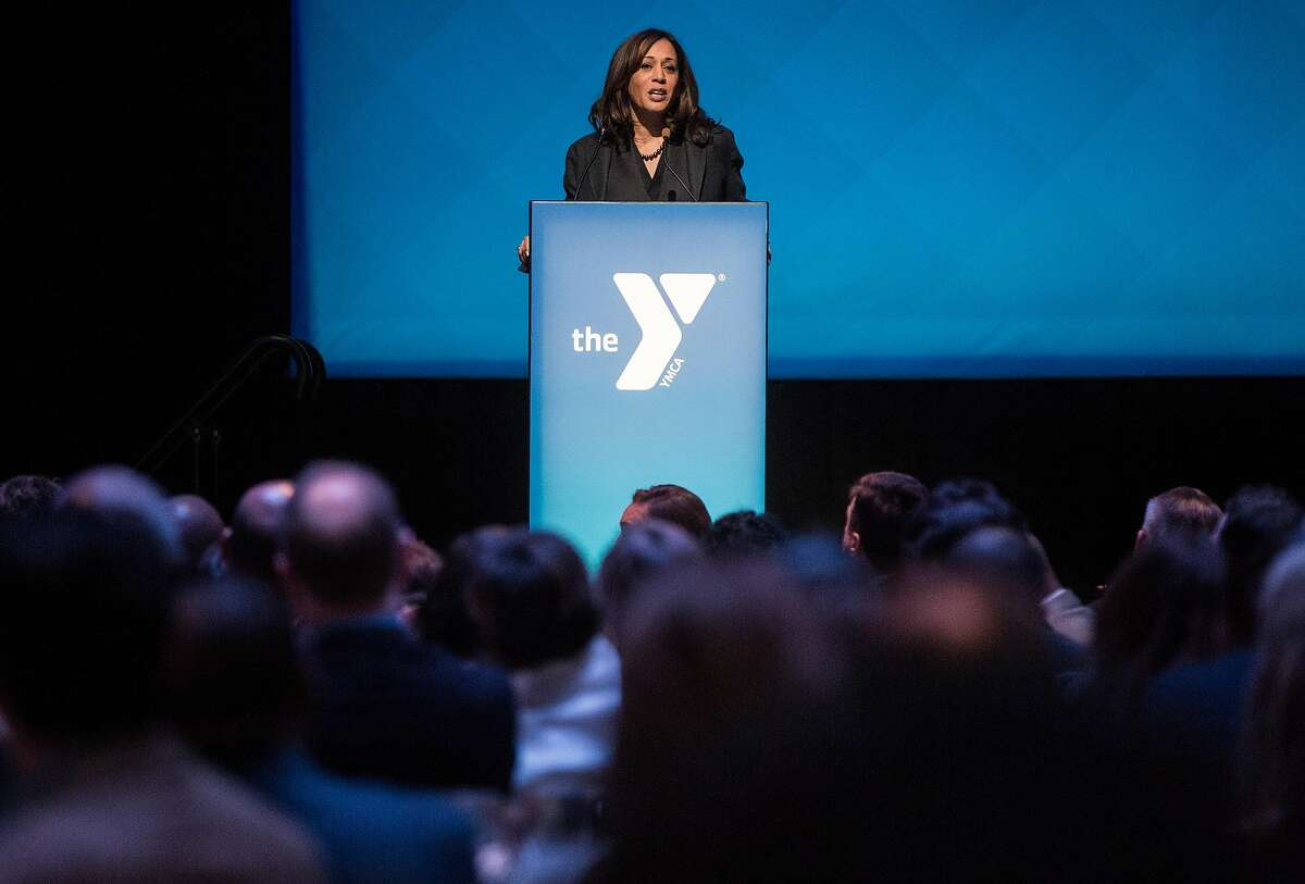 U.S. Senator Kamala D. Harris speaks during the Y for Youth luncheon hosted by the YMCA at Yerba Buena Center for the Arts Friday, March 9, 2018 in San Francisco, Calif.