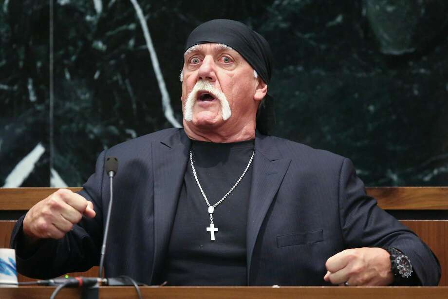 Terry Bollea, aka Hulk Hogan, testifies under cross-examination in his $100 million defamation against Gawker Media, in St. Petersburg, Fla., March 8, 2016. A lawyer for Gawker, which posted a video of Bollea having extra-marital sex in 2012, said that his penchant for flaunting sexual conquests was material to the case; Bollea maintained it was purely an act and part of his wrestling persona. (John Pendygraft/Pool via The New York Times) -- FOR EDITORIAL USE ONLY -- Photo: JOHN PENDYGRAFT, NYT