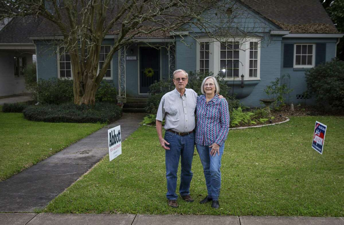 Serpell and Betsy Edwards have watched their neighborhood transform since moving to their West University bungalow in the early 1970s. One of the most recent, unexpected results was when they had their Trump 2016 campaign sign repeatedly removed from their front yard. Photographed at their home, Tuesday, Feb. 27, 2018, in West University. ( Mark Mulligan / Houston Chronicle )
