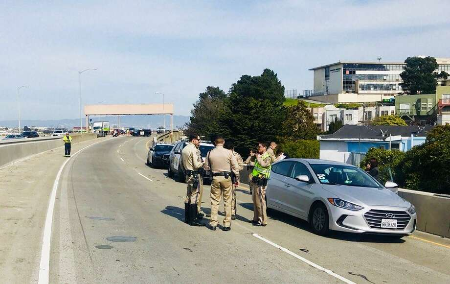 The California Highway Patrol was investigating an armed robbery on a San Francisco freeway on Friday afternoon. Photo: CHP / /