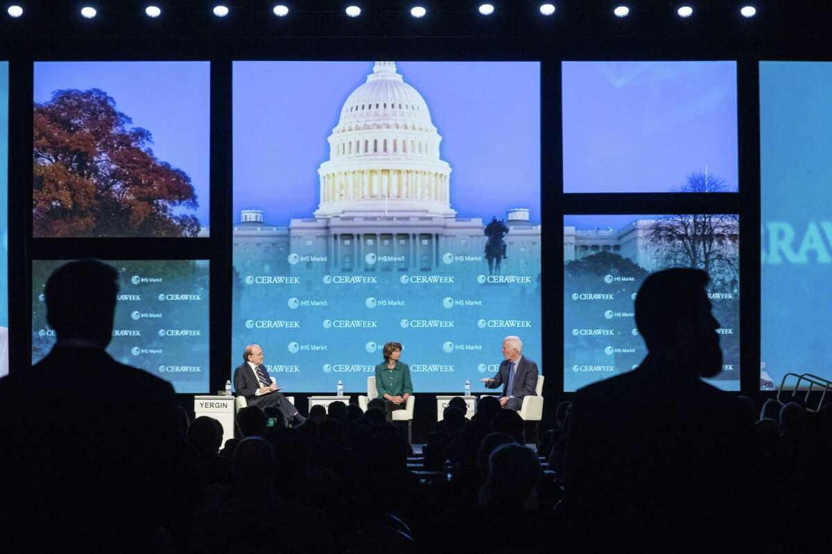 Senate Majority Whip John Cornyn, a Republican from Texas, right, speaks while Senator Lisa Murkowski, a Republican from Alaska, center, and Daniel Yergin, vice chairman of IHS Cambridge Energy Research Associates Inc., listen during the 2018 CERAWeek by IHS Markit conference in Houston, Texas, U.S., on Friday, March 9, 2018. CERAWeek gathers energy industry leaders, experts, government officials and policymakers, leaders from the technology, financial, and industrial communities to provide new insights and critically-important dialogue on energy markets. Photographer: F. Carter Smith/Bloomberg