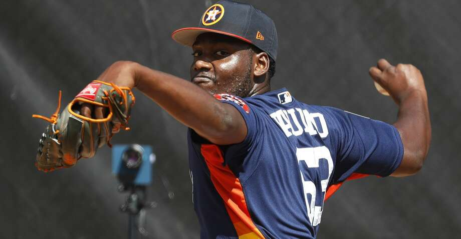 Astros pitcher David Paulino has been superb in camp thus far, throwing 7 2/3 scoreless innings in three outings. Photo: Karen Warren/Houston Chronicle
