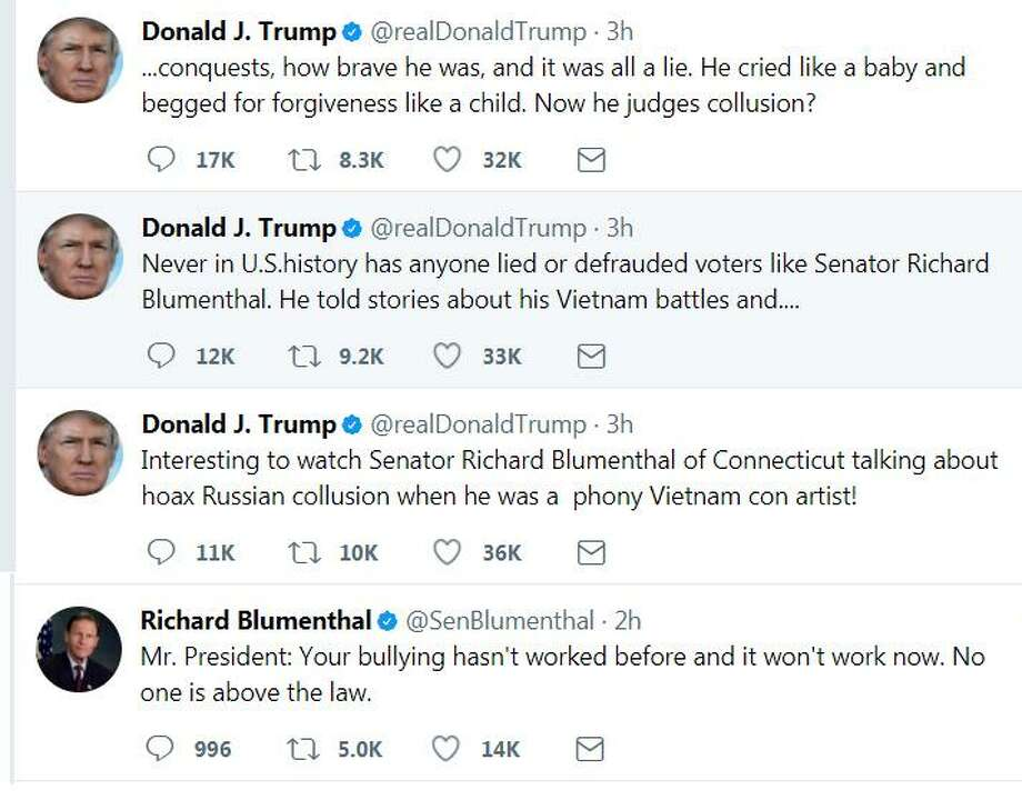 Though this series of tweets — about Sen. Richard Blumenthal — has only one exclamation mark, the president's @realDonaldTrump posted 2,251 tweets with exclamation points in 2016 alone. Photo: Contributed Photo /Contributed Photo / Connecticut Post Contributed