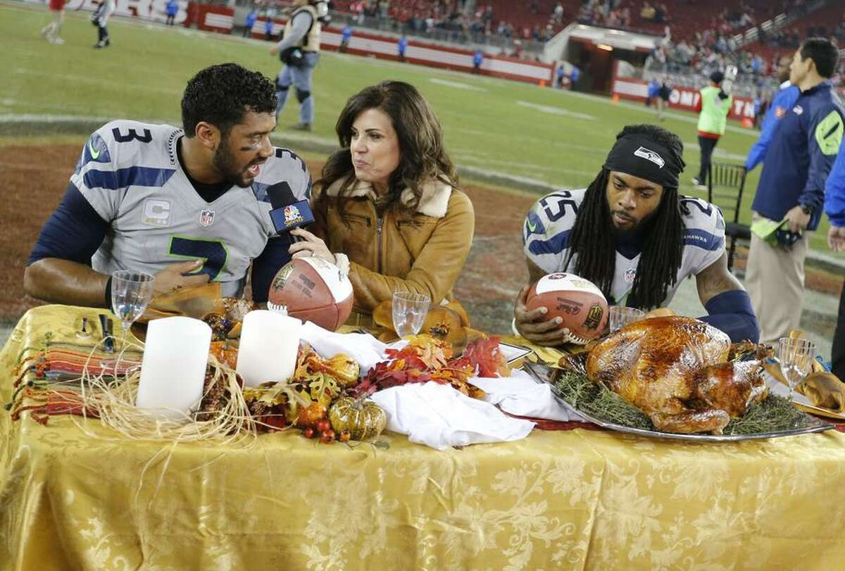 Seattle's Russell Wilson (left) and Richard Sherman famously ate Thanksgiving turkey after beating the 49ers in Santa Clara.
