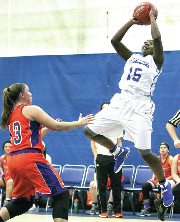 Danielle Conley of LCCC (15) scored 15 points to lead the Trailblazers in Friday's 67-47 loss to Illinois Central College at the Region 24 Division II Tournament at Lincoln Land College in Springfield. Conley is shown in action against Missouri Valley. Photo: LCCC Athletics