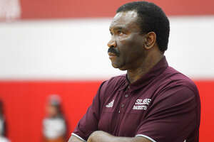 Silsbee head coach Joe Sigler watches as they take on Scarborough in the Class 4A Regional Quarterfinal at Crosby High School on Tuesday evening.  Photo taken Saturday 2/24/18 Ryan Pelham/The Enterprise