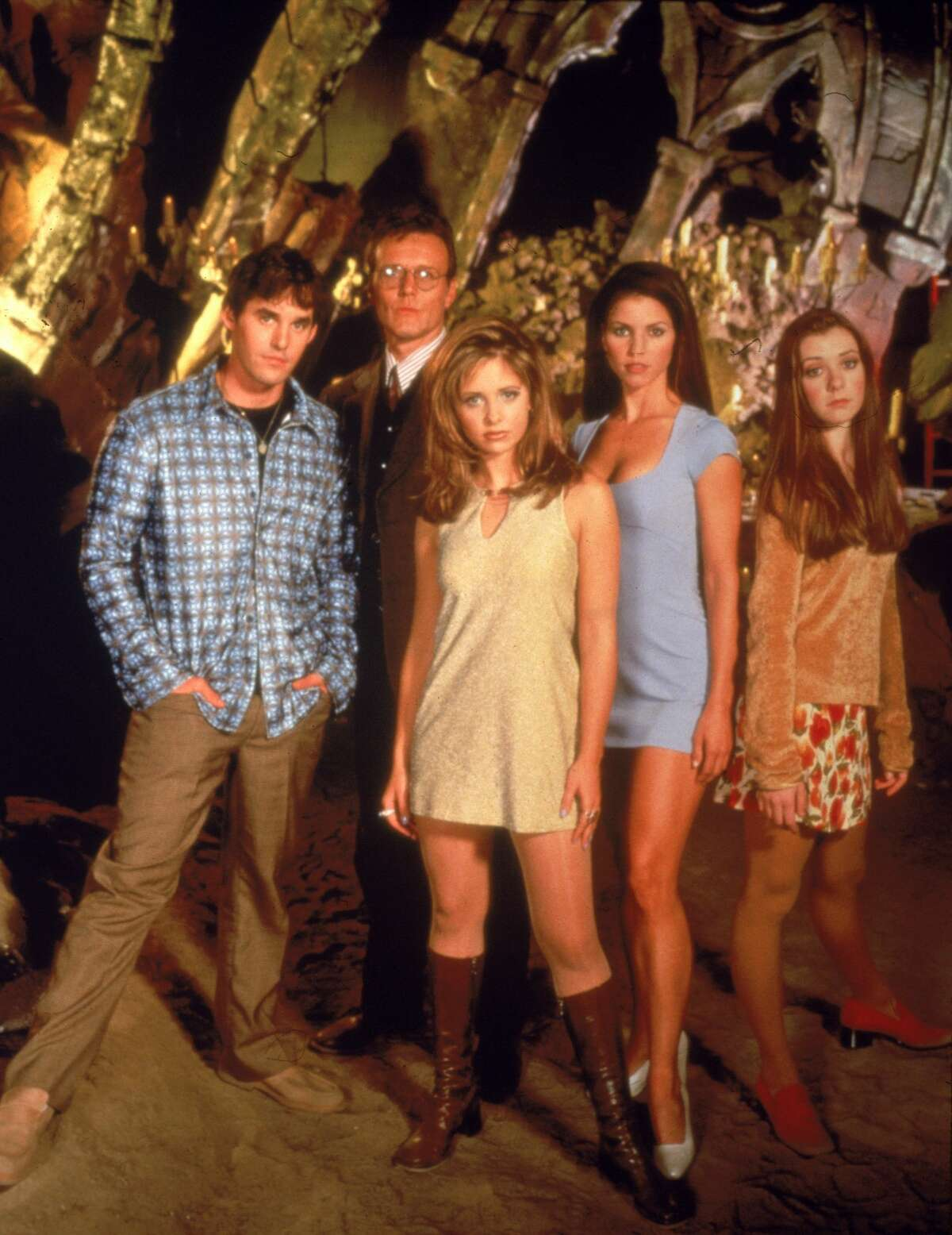 The cast grew quite a bit larger through the years, but in its early days it featured (from left) Nicholas Brendon, Anthony Head, Sarah Michelle Gellar, Charisma Carpenter and Alyson Hannigan. This promotional photo was from 1997.