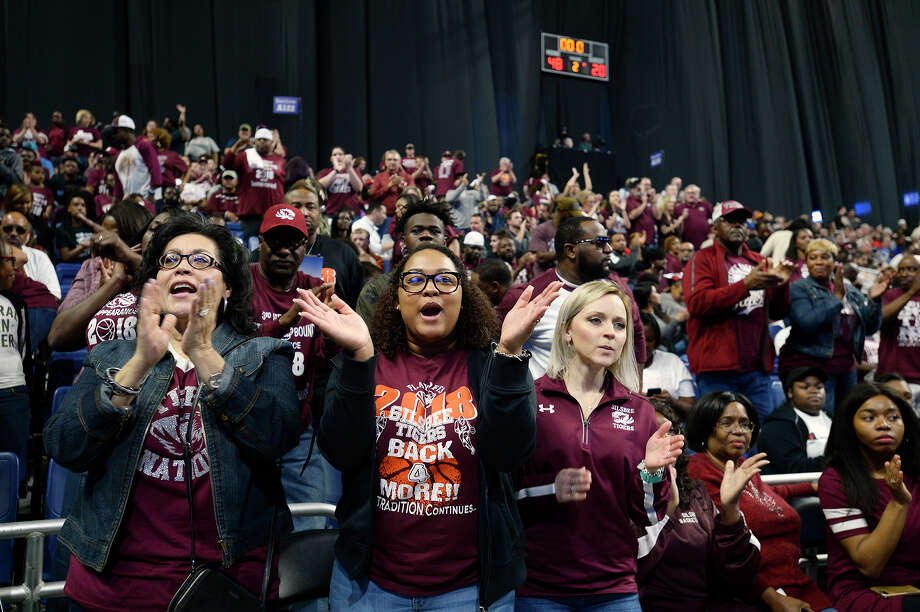 Silsbee fans cheer on the Tigers boys basketball team against Somerset in the class 4A state semifinal at the Alamodome in San Antonio on Friday afternoon.   Photo taken Friday 3/9/18 Ryan Pelham/The Enterprise Photo: Ryan Pelham / ©2017 The Beaumont Enterprise/Ryan Pelham