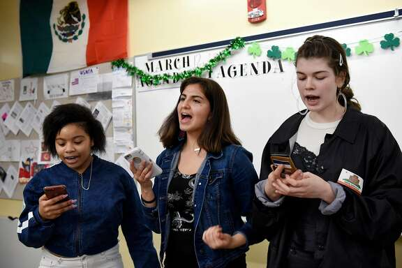 From left, students Jyairrah Martin, Kiki Heredia, and Morgen York rehearse a spoken word piece for the upcoming student walkout, at the School Of The Arts in San Francisco, Calif., on Friday March 9, 2018.  p.p1 {margin: 0.0px 0.0px 0.0px 0.0px; font: 16.0px Calibri; -webkit-text-stroke: #000000} span.s1 {font-kerning: none}