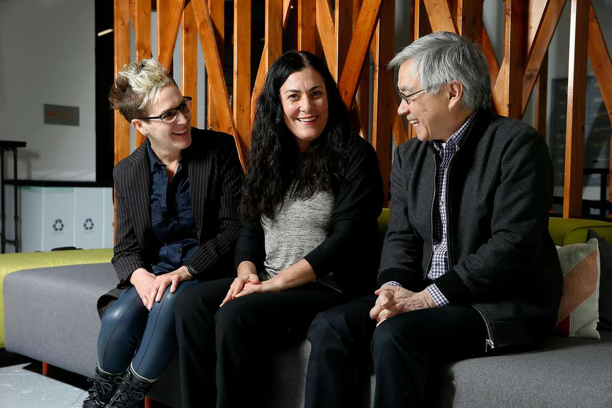 From left: Frameline executive director Frances Wallace, Jewish Film Institute executive director Lexi Leban and Center for Asian American Media executive director Stephen Gong, Wednesday, Feb. 14, 2018, in San Francisco, Calif.