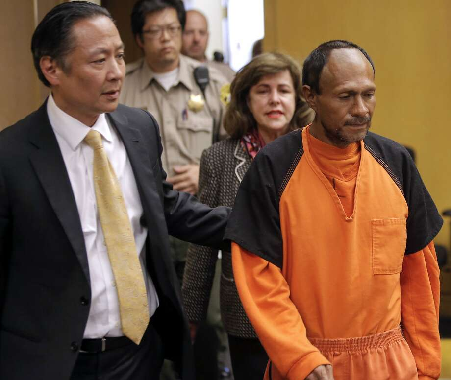 San Francisco Public Defender Jeff Adachi, (left) leads Juan Francisco Lopez-Sanchez, into the Hall of Justice in San Francisco, Calif. on Tues. July 7, 2015, for his arraignment on suspicion of murder in the shooting death of Kate Steinle on San Francisco's Pier 14 last Wednesday. Photo: Michael Macor / The Chronicle