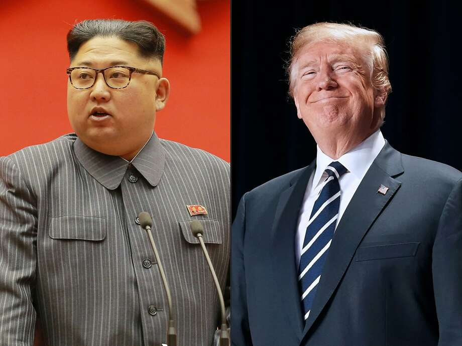 North Korean leader Kim Jong Un, left, in 2017, and President Trump in February. Photo: STR, AFP/Getty Images
