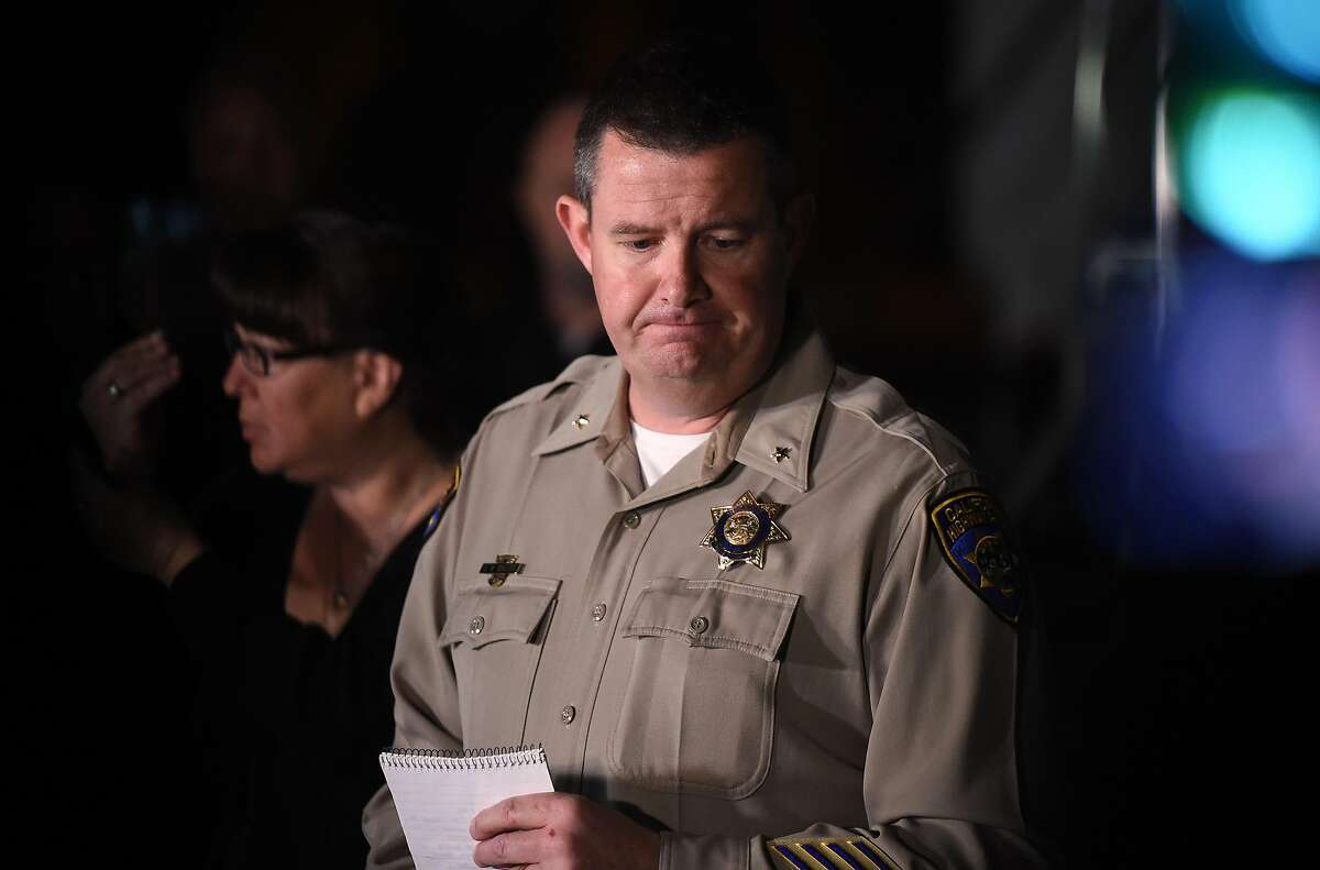 California Highway Patrol Assistant Chief Chris Childs announces the death of four people as a hostage situation with an active shooter draws to a close at the Veterans Home of California in Yountville, California on Friday, March 09, 2018.