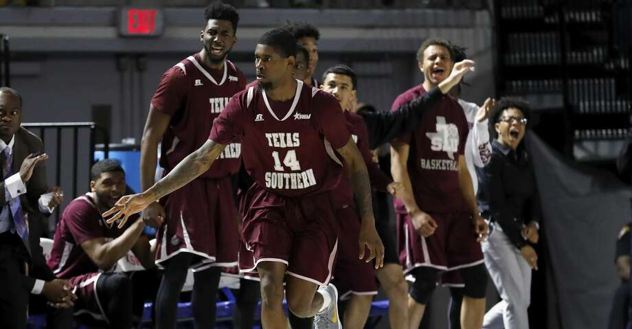 Texas Southern Tigers forward Lamont Walker (14) celebrates a three point shot in the second half during the SWAC Tournament semifinals game at Delmar Field House in Houston, TX on Friday, March 9, 2018.   The Texas Southern Tigers defeated the Prairie View A&M Panthers 88-74. Photo: Tim Warner/For The Chronicle