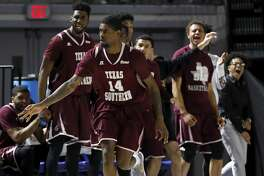 Texas Southern Tigers forward Lamont Walker (14) celebrates a three point shot in the second half during the SWAC Tournament semifinals game at Delmar Field House in Houston, TX on Friday, March 9, 2018. The Texas Southern Tigers defeated the Prairie View A&M Panthers 88-74.
