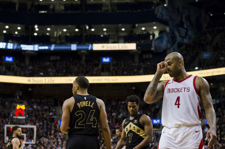 Houston Rockets forward PJ Tucker (4) reacts during the second half of an NBA basketball game against the Toronto Raptors in Toronto, Friday, March 9, 2018. (Christopher Katsarov/The Canadian Press via AP) Photo: Christopher Katsarov/Associated Press