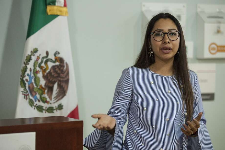 Sarahi Espinoza Salamanca, creator of Dreamers Roadmap, an app that helps undocumented students find college scholarships, speaks during a Women's Day event last week at the Mexican Consulate in S.F. Photo: Peter DaSilva, Special To The Chronicle