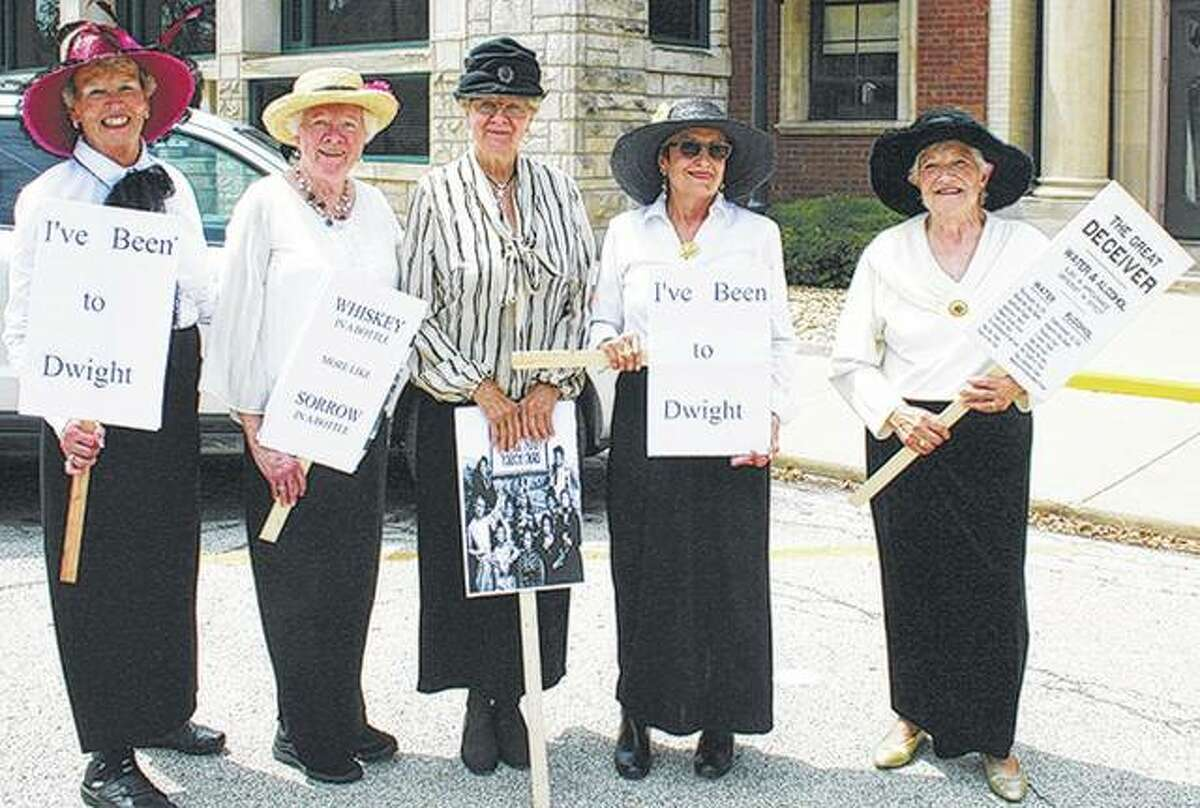 Women portray temperance union members who cheered on graduates of the Keeley program. The women are Shirley Holzhauer (from left), Delores Slattery, Betty Pfeifer, Elaine Mortensen and Dee Hanner.