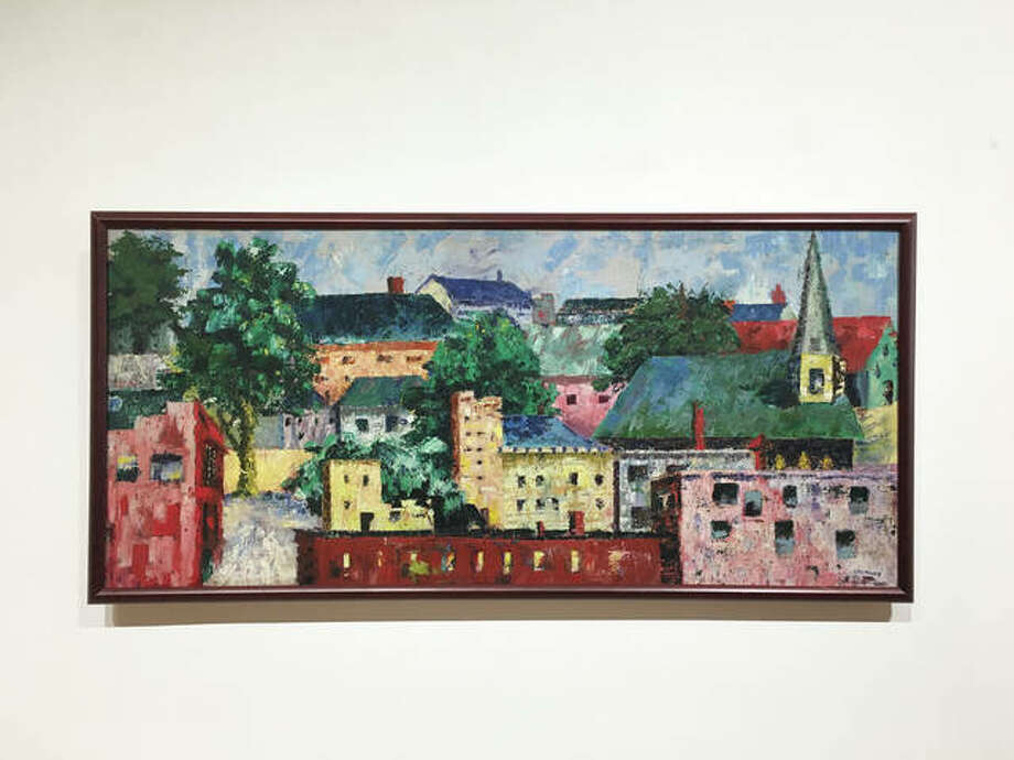 Gene Ursprung's impression of Alton from an artist's perspective. He explained that some of the buildings exist, but some he added from his imagination. Photo: Jill Moon The Telegraph