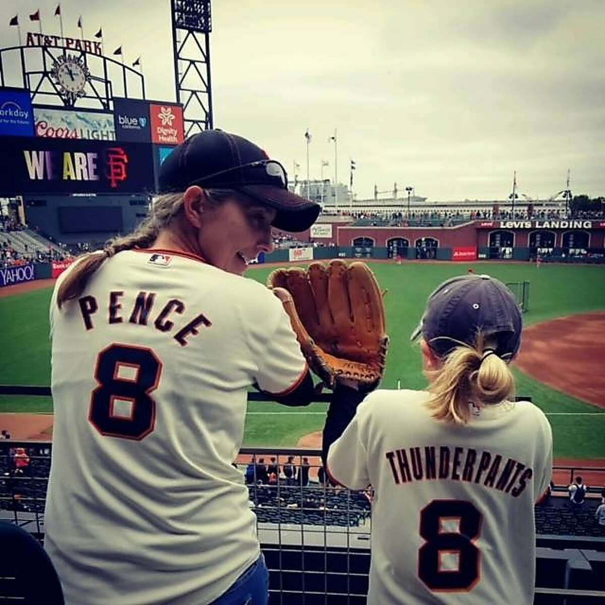 Jennifer Golick at a Giants game with her daughter, who is now 8 years old.