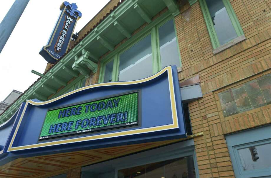 """The Wall Street Theater Co. displays a sign on their marquis, """"Here Today Here Forver!"""", Friday, March 9, 2018, in Norwalk, Conn. The Wall Street Theater Co. was touted to be the new centerpiece of the area but now is restructuring under Chapter 11 bankruptcy protection. Photo: Erik Trautmann / Hearst Connecticut Media / Norwalk Hour"""
