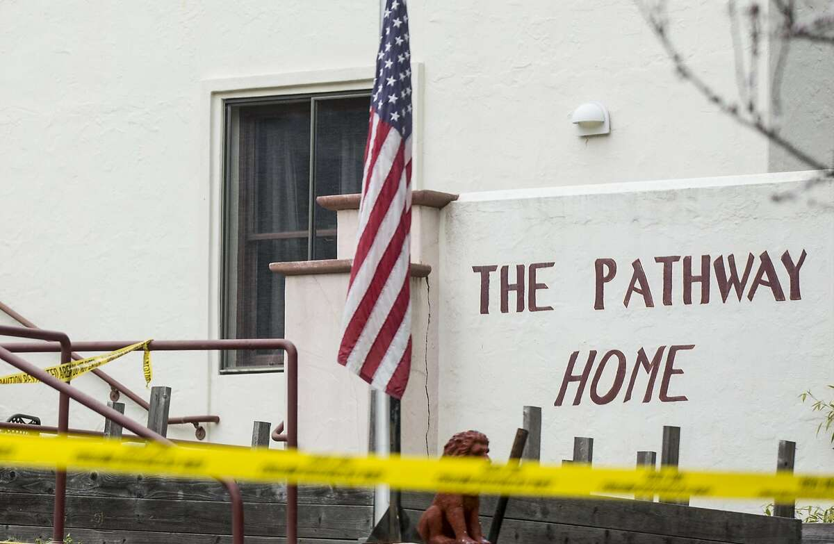 The entrance of Pathway Home is seen surrounded by caution tape following the deadly shooting of three female Pathway Home employees by a former resident at Yountville Veterans Home of California Saturday, March 10, 2018 in Yountville, Calif.