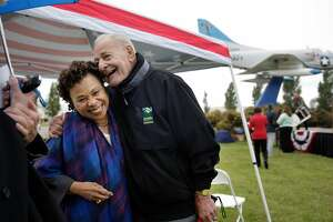 """Congresswoman Barbara Lee (l to r) talks with """"Lil"""" Arnerich, former Alameda councilmember,  before the start of the Former Naval Air Station Alameda Phase 1 Conveyance Ceremony on Monday, June 24, 2013 in Alameda,  Calif."""