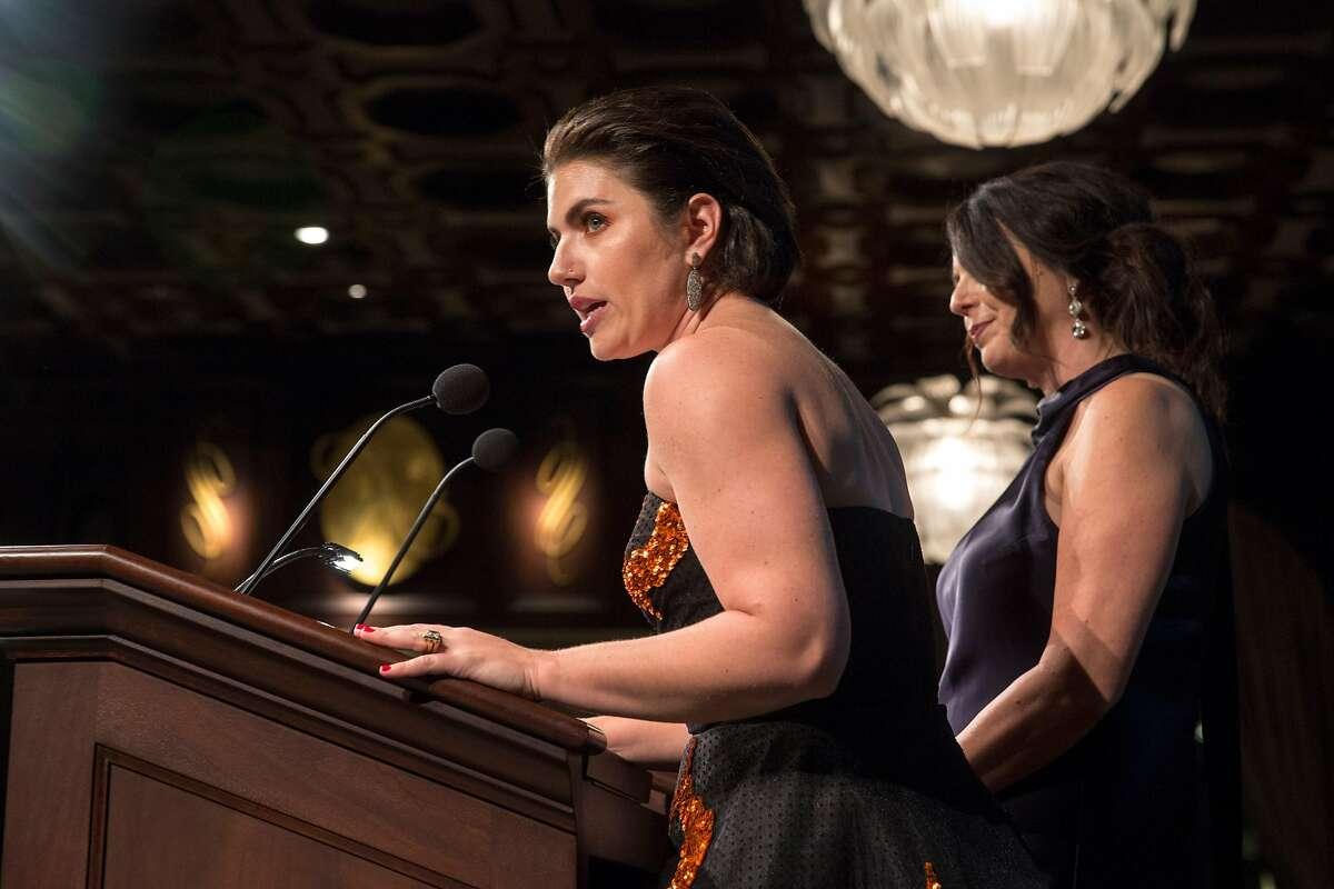 Jaimie Mayer,managing director with Lorreta Greco, artistic director talk on stage at the Magic Theatre Masquerade Gala at Julia Morgan Ballroom, March 9, 2018, San Francisco