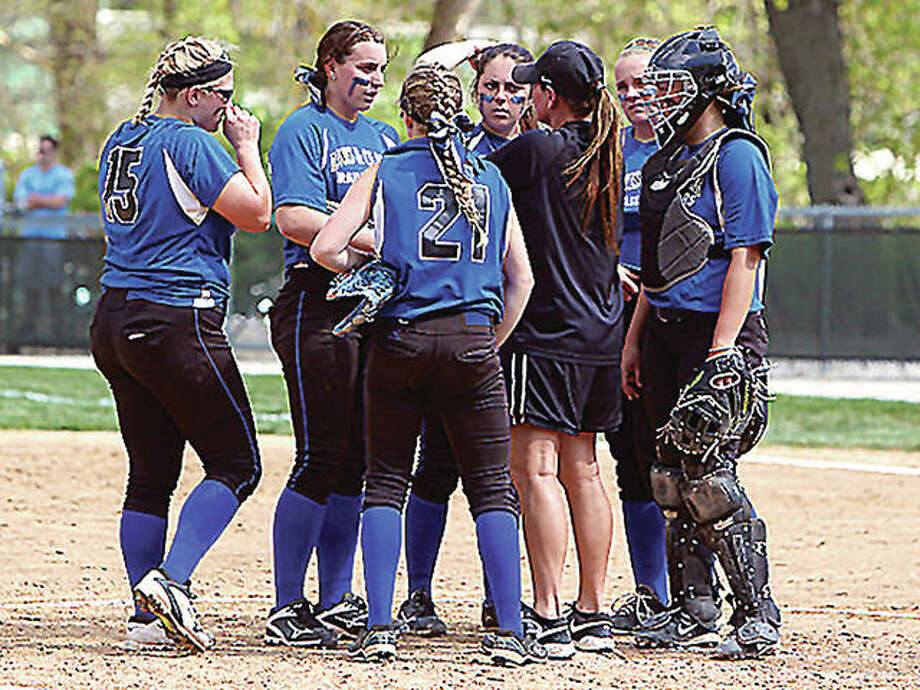 Lewis and Clark Community College won its first game of the season 9-0 Saturday over Mercer County College of New Jersey in Myrtle Beach, S.C. Above, LCCC coach Ronda Roberts addresses her infield during a game last season. Photo: File Photo
