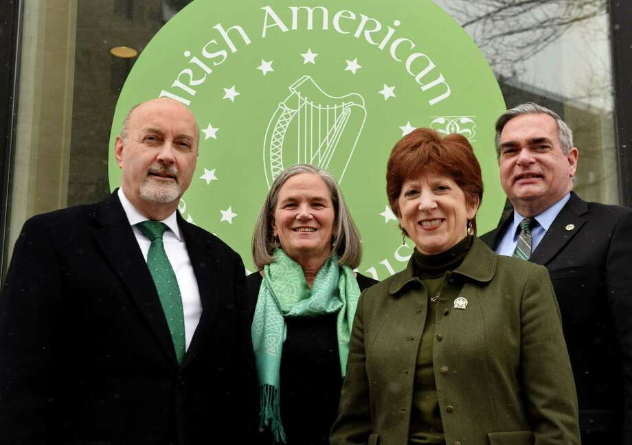 Capital Region mayors of Irish descent; Patrick Madden of Troy, left, Meg Kelly of Saratoga Springs, Kathy Sheehan of Albany and Gary McCarthy of Schenectady, right, stand for a photo at the Irish American Heritage Museum on Friday March 9, 2018, in Albany, N.Y. (Will Waldron/Times Union) Photo: Will Waldron / 20043177A