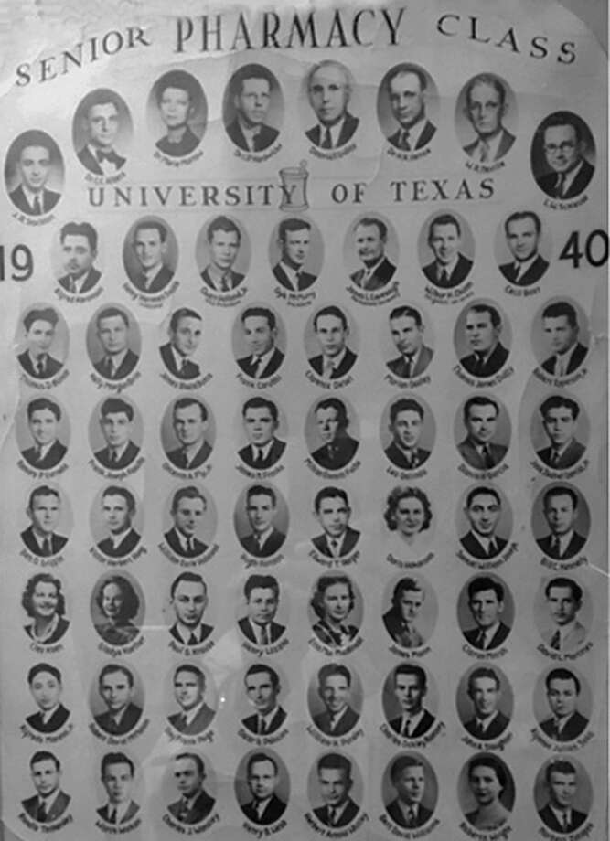 This collage of photos shows the Class of 1940 of UT's School of Pharmacy; Dionicio Garcia of San Antonio was one of only eight Hispanic graduates that year. He was the father of Father David Garcia, pastor of Mission Concepcion and director of the Old Spanish Missions in San Antonio. Father David and three of his sisters were born at the Saenz Clinic where Dionicio was the pharmacist. Photo: Courtesy /