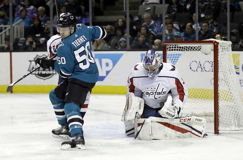 Washington Capitals goaltender Philipp Grubauer, right, stops a shot behind San Jose Sharks' Chris Tierney (50) during the first period of an NHL hockey game Saturday, March 10, 2018, in San Jose, Calif. (AP Photo/Marcio Jose Sanchez) Photo: Marcio Jose Sanchez, Associated Press