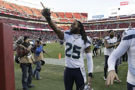 Seattle Seahawks cornerback Richard Sherman (25) points after an NFL football game against the San Francisco 49ers in Santa Clara, Calif., Sunday, Jan. 1, 2017. (AP Photo/Marcio Jose Sanchez)