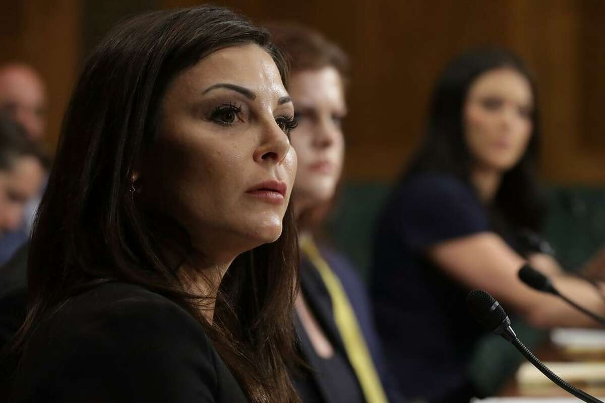 Jamie Dantzscher, former gymnast and 2000 Olympic Bronze Medalist, testifies before the Senate Judiciary Committee about her sexual abuse at the hands ofDr. Larry Nassar on Capitol Hill March 28, 2017 in Washington, DC.