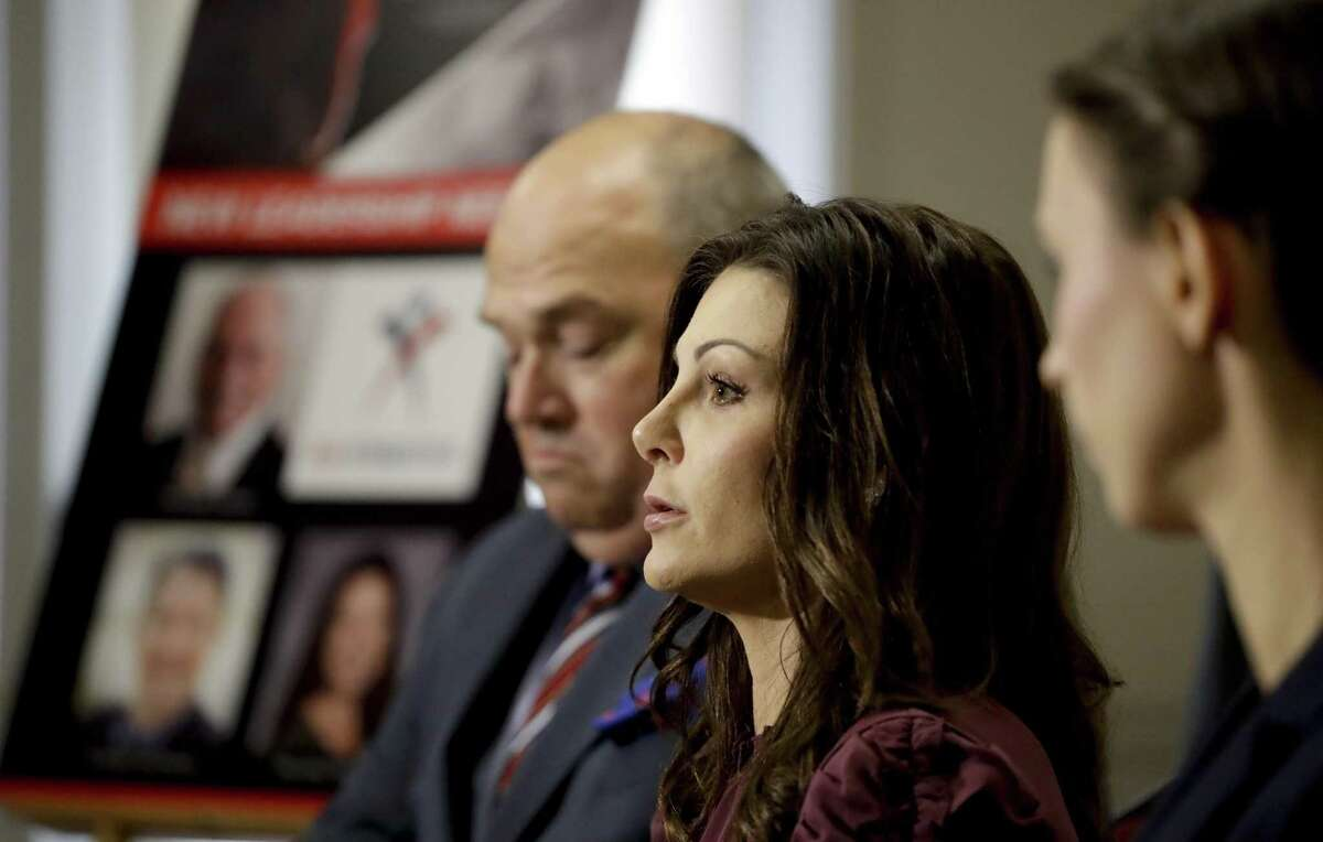 2000 Olympic bronze medalist Jamie Dantzscher, center, was the first Olympic gymnast to sound the alarm about Dr. Larry Nassar, filing a lawsuit and going public in 2016.