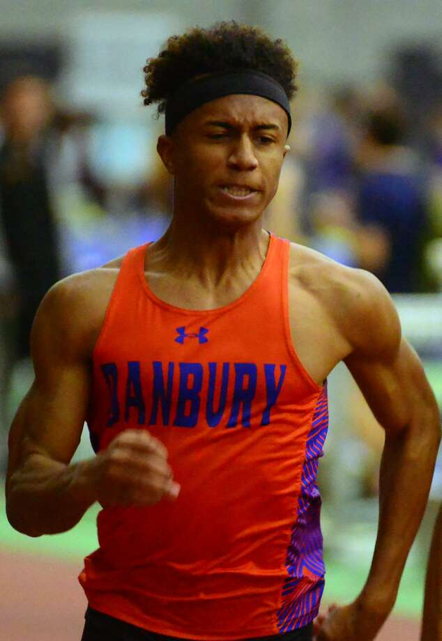 Danbury's Malachi Lorick competes in the 55 meter dash during Class LL track championship action in New Haven, Conn., on Wednesday Feb. 15, 2017. Photo: Christian Abraham / Hearst Connecticut Media / Connecticut Post