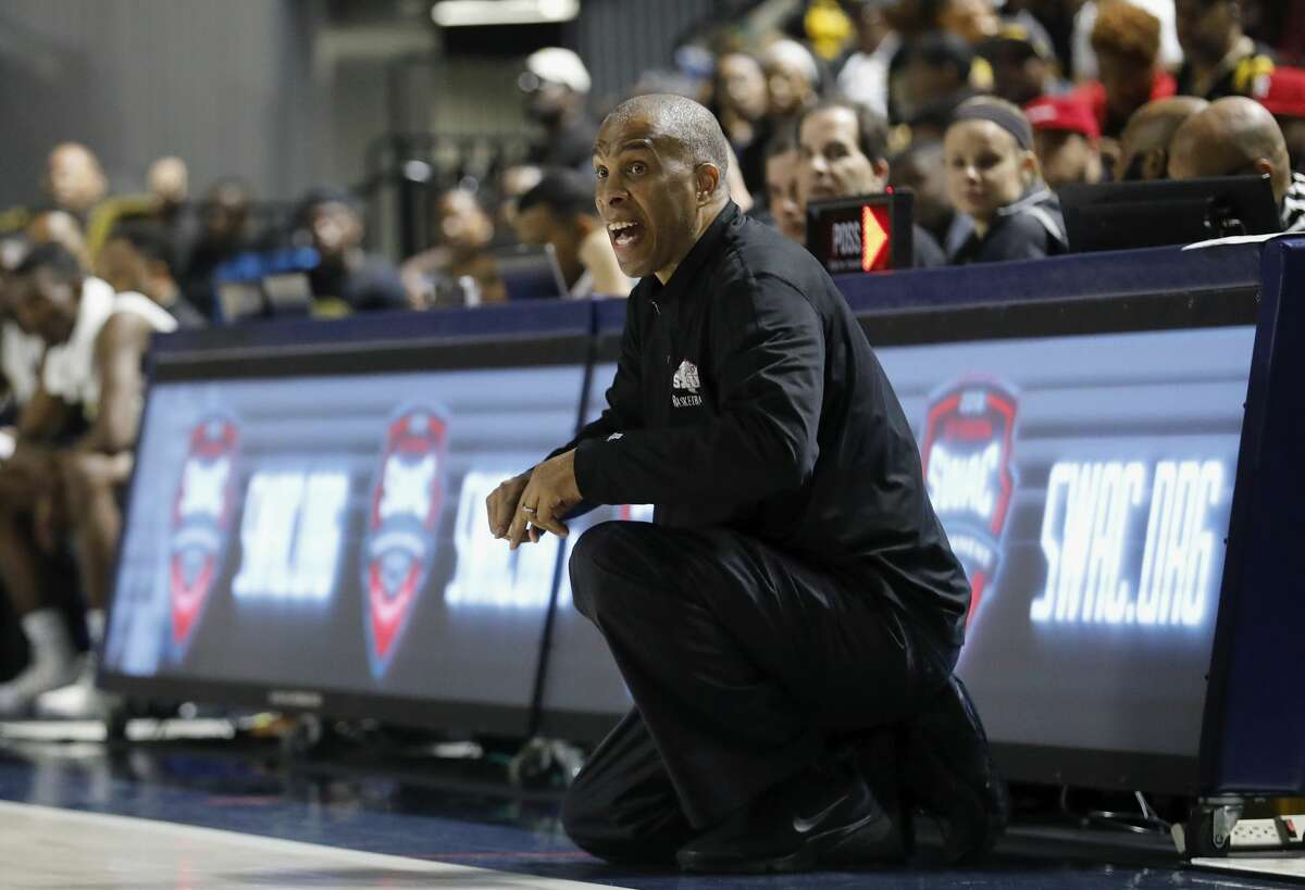 Texas Southern Tigers head coach Mike Davis reacts in the second half during the SWAC Basketball Tournament Championship Game at Delmar Field House in Houston, TX on Saturday, March 10, 2018.