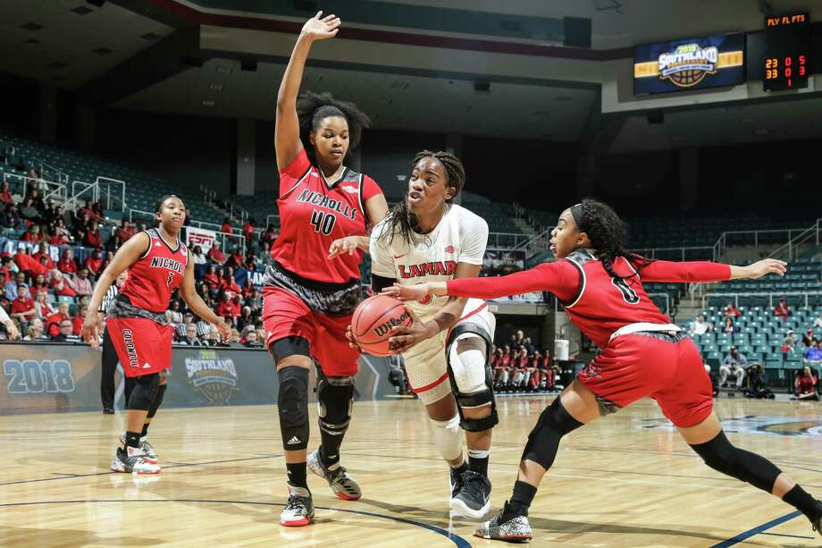 Lamar's Kiandra Bowers fights through the lane during a 74-68 loss to Nicholls in the Southland tournament semifinals at the Merrell Center in Katy on Saturday, March 10, 2018. Photo: Provided By Southland Sports, Matt Pearce / 2018 Rick Yeatts
