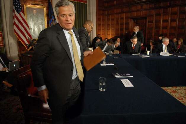 Senate Minority Leader Dean Skelos says the governor could gain GOP budget extender votes if he listens to their plans for cuts. He appears Wednesday after a budget meeting at the Capitol.  (Paul Buckowski/Times Union) Photo: PAUL BUCKOWSKI / 00009084A