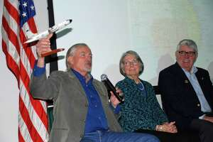 Vietnam War-era panelists Willaim O?Brien, Helene Wallingford and David Waghorn discus their experiences at a discussion Saturday, March 10, 2018, in Saratoga Springs. (Paul Fanning, courtesy of the New York State Military Museum)