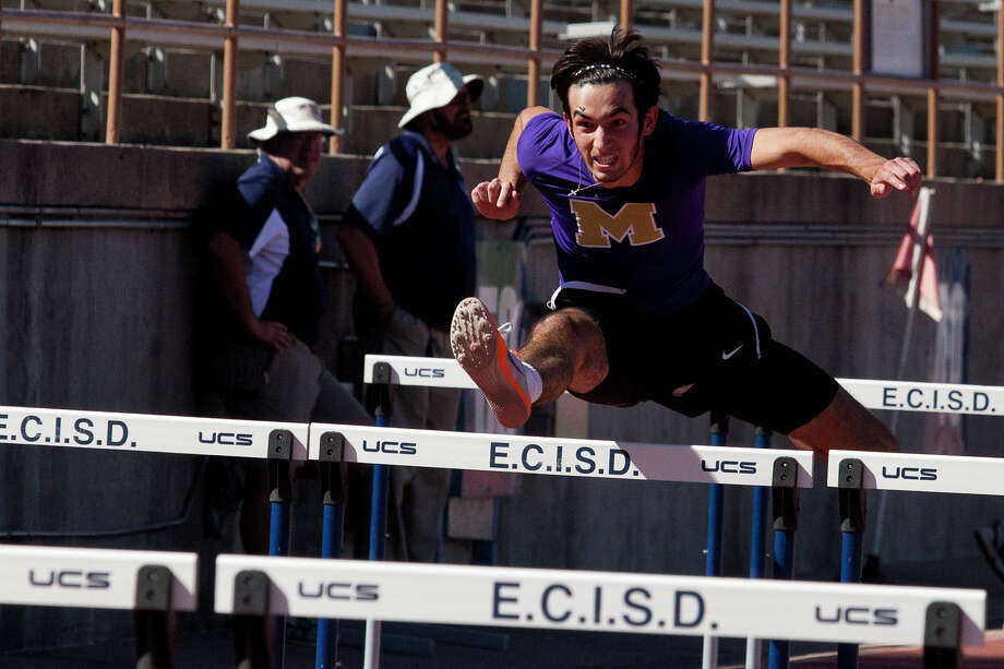 Midland High's Jacob McCracken competes in the West Texas Relays' Boys 110 Meter Hurdle Saturday at Ratliff Stadium. Photo: Jacob Ford/Odessa-American